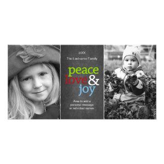 Peace Love & Joy - Chalkboard Holiday Photo Card