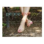 Peace Love Joy Christmas Family Photo Colorful Post Card