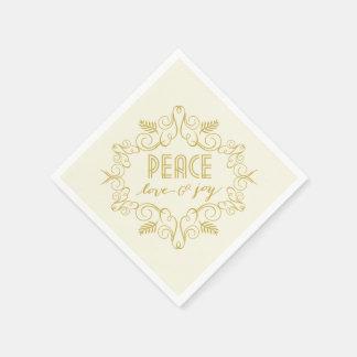 Peace Love Joy Christmas Foliage Holiday Party Paper Napkin