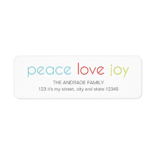 Peace Love Joy Christmas Holiday Blue Red Green Label at Zazzle