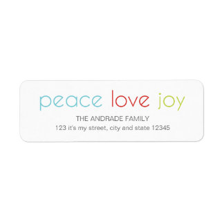 Peace Love Joy Christmas Holiday Blue Red Green Label
