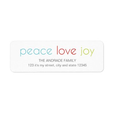 Christmas Themed Peace Love Joy Christmas Holiday Blue Red Green Label