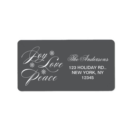PEACE, LOVE, JOY CHRISTMAS HOLIDAY GREY CUSTOM ADDRESS LABEL