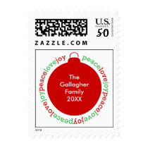 Peace love joy Christmas holiday red postage stamp