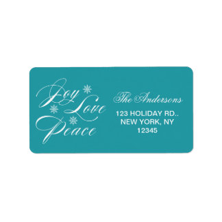 PEACE, LOVE, JOY CHRISTMAS HOLIDAY TURQUOISE LABEL