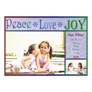 Peace Love Joy Christmas Photo Card - 2 sided