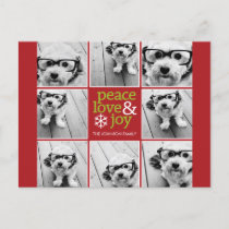 Peace Love Joy Christmas Photo Collage Holiday Postcard