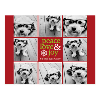 Peace Love Joy Christmas Photo Collage Postcard