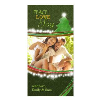 Peace Love Joy Christmas Tree Couple Photocards Card