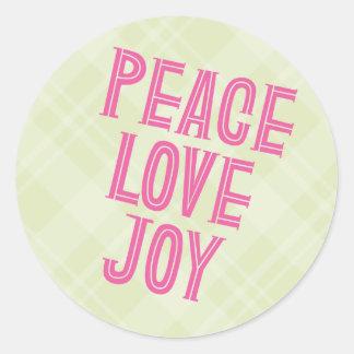 Peace, Love, Joy Classic Round Sticker