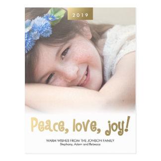 Peace Love Joy Custom Photo Modern Xmas Postcard