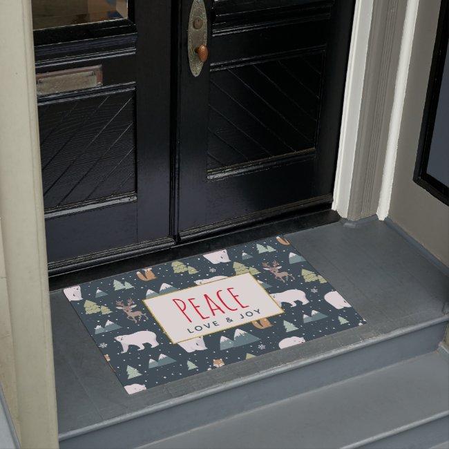 Peace Love & Joy Cute Christmas Animals Pattern Doormat
