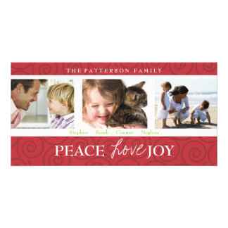 Peace Love Joy Festive Swirl Photo Collage in Red Photo Card