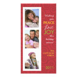 Peace Love Joy Festive Swirl Photo Collage in Red Customized Photo Card