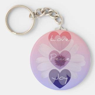 Peace, Love, Joy Flower Key Chain