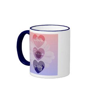 Peace, Love, Joy Flower Mug