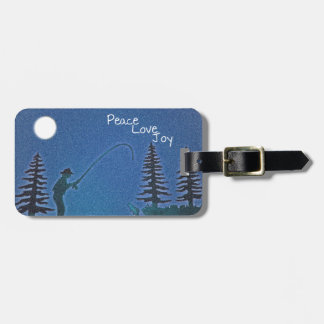 Peace, Love, Joy / Fly Fisherman in Snow Bag Tag