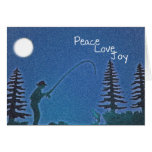 Peace, Love, Joy / Fly Fisherman in Snow Greeting Cards