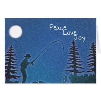Peace, Love, Joy / Fly Fisherman in Snow Card
