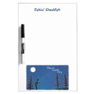 Peace, Love, Joy / Fly Fisherman in Snow Dry-Erase Board