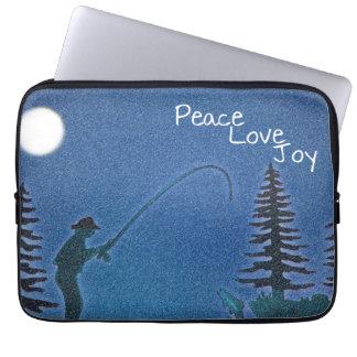 Peace, Love, Joy / Fly Fisherman in Snow Laptop Computer Sleeve