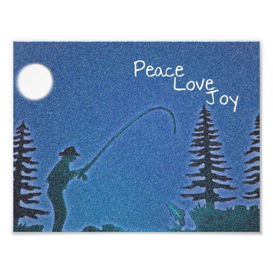 Peace, Love, Joy / Fly Fisherman in Snow Photo Print