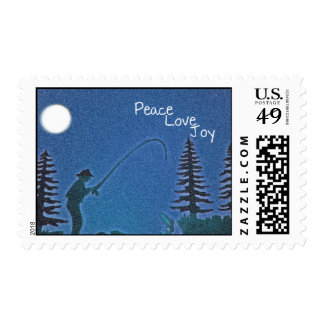 Peace, Love, Joy / Fly Fisherman in Snow Postage