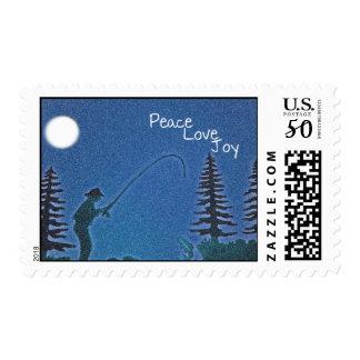 Peace, Love, Joy / Fly Fisherman in Snow Postage