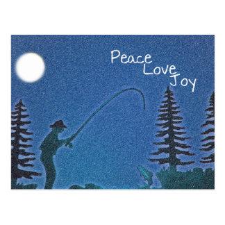 Peace, Love, Joy / Fly Fisherman in Snow Postcard