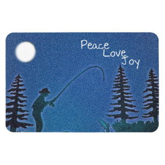 Peace, Love, Joy / Fly Fisherman in Snow Rectangular Photo Magnet