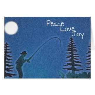 Peace, Love, Joy / Fly Fisherman in Snow Template Card