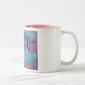 Peace, Love, Joy, Fulfillment, Bright Future Two-Tone Coffee Mug