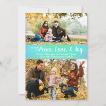 Peace Love Joy Green Iridescent Holiday Photo Card