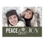 Peace Love Joy Green Snowflake Holiday Postcards
