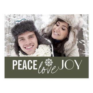 Peace Love Joy Green Snowflake Holiday Postcards