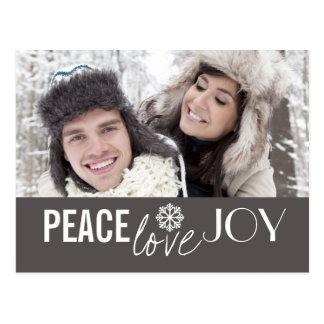 Peace Love Joy Grey Snowflake Holiday Postcards
