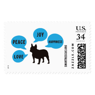 Peace Love Joy Happiness - Frenchie Postcard Stamp
