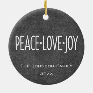 Peace Love Joy Holiday Chalkboard Photo Collage Ceramic Ornament