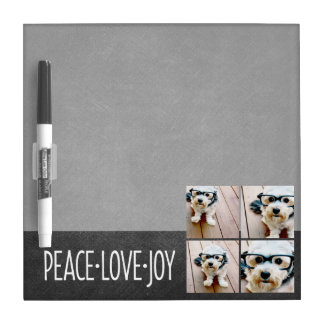 Peace Love Joy Holiday Chalkboard Photo Collage Dry Erase Boards
