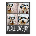 Peace Love Joy Holiday Chalkboard Photo Collage Post Card
