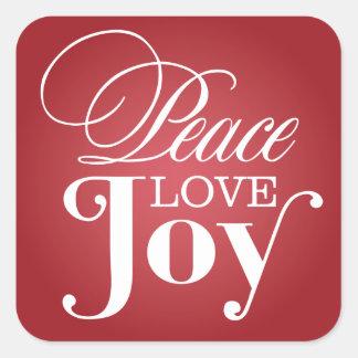 PEACE LOVE JOY | HOLIDAY ENVELOPE SEAL SQUARE STICKER
