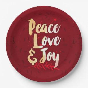 Peace Love u0026 Joy - Holiday Paper Plates  sc 1 st  Zazzle & Peace Love Joy Holiday Plates | Zazzle
