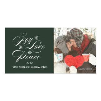 PEACE LOVE JOY HOLIDAY PHOTO CARD GREEN