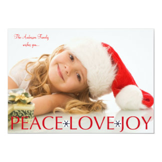 Peace Love Joy Holiday Photo Card Personalized Announcements