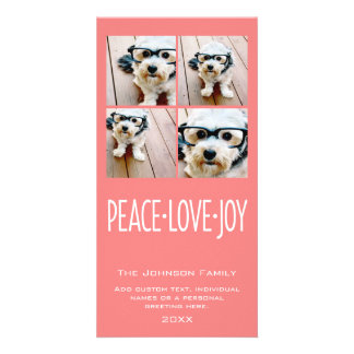 Peace Love Joy Holiday photo collage Coral Card