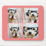 Peace Love Joy Holiday photo collage Coral Mousepads