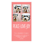 Peace Love Joy Holiday photo collage Coral Customized Photo Card