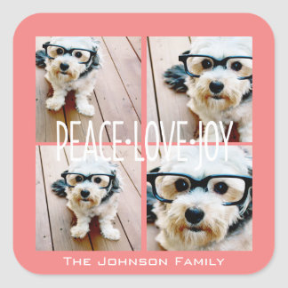 Peace Love Joy Holiday photo collage Coral Square Sticker