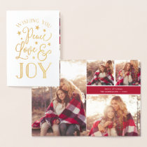 Peace, Love & Joy | Holiday Photo Collage Gold Foil Card