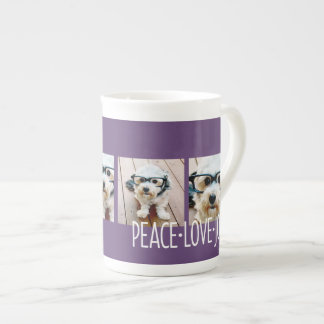 Peace Love Joy - Holiday Photo Collage Purple Tea Cup